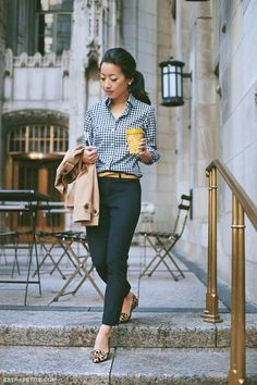 Pop of mustard and animal print. 30 Chic and Stylish Interview Outfits for Ladies
