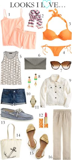 CHIC COASTAL LIVING: LOOKS I LOVE... spring summer mango J.Crew Lemlem Tory Burch