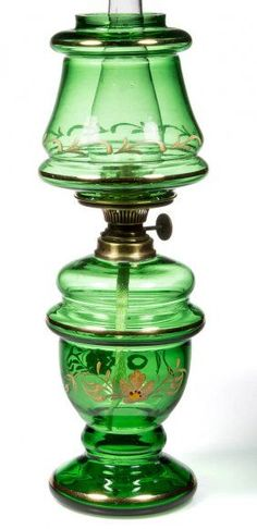 Enamel-decorated Miniature Oil Lamp