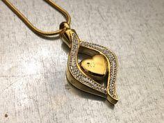 Cremation Necklace, Gold Plate Heart Urn, Rhinestone Urn Locket, Ashes Holder Necklace, Cremation Locket, Memorial Urn Locket by urbanindustries on Etsy