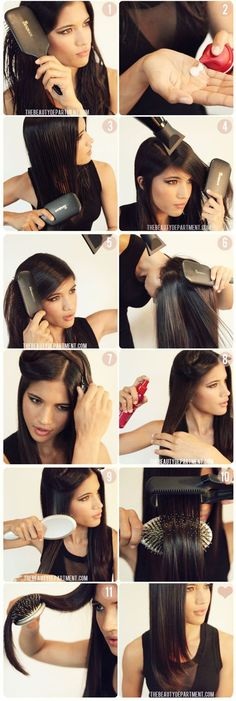 Once you've completely ironed your hair, drape the hot hair over a brush until it cools with a bend.