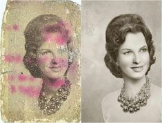 Ukrainian photo retoucher Tetyana Dyachenko incredibly recreated restorations of vintage photos which are damaged. Dyachenko is using her Photoshop skills Photoshop Photography, Photography Tutorials, Photography Tips, Amazing Photography, Portrait Photography, Wedding Photography, Old Photos, Vintage Photos, Vintage Photographs