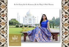 Warp 'n Weft Taj Lehenga Persian Blue at Taj Mahal Persian Blue, Indian Weddings, Saris, Color Trends, Lehenga, Taj Mahal, Weaving, Colours, Elegant