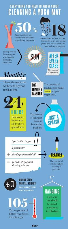 Did you know any of these facts about cleaning your yoga mat? Looks like it's time to grab that detergent!
