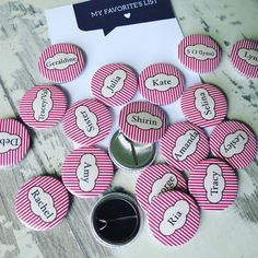 Cute custom name badges. Customised at no extra charge. Perfect for weddings & parties.