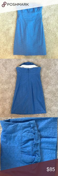 Lilly Pulitzer Strapless dress Blue Lilly Pulitzer strapless dress. Crochet material with white underneath that is perfect for spring! I'm perfect condition except on the top where the thread is coming undone a little but it is not noticeable. Lilly Pulitzer Dresses Strapless