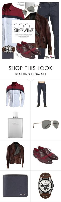 """Rosegal color block men's shirt"" by vn1ta ❤ liked on Polyvore featuring Etro, Hermès, Billabong, Isaac Sellam, Prada, FOSSIL, men's fashion and menswear"