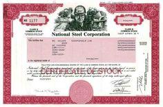National Steel Corporation Stock Certificate 2003