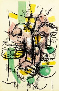 """""""Woman with Parrot"""" by Fernand Leger - WikiArt.org"""