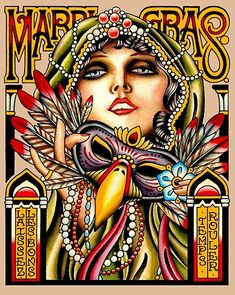 A Fine Art High Definition Digital Art New Orleans Mardi Gras Art Deco Print by Posterbobs for Red Bubble New Orleans Voodoo, New Orleans Art, New Orleans Mardi Gras, New Orleans Decor, Mardi Gras Centerpieces, Mardi Gras Decorations, Mardi Gras Outfits, Mardi Gras Costumes, Mardi Gras Food