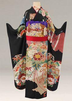 Vintage furisode, long sleeved formal kimono