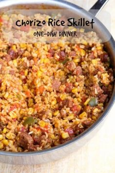 This delicious dish came about thanks to a pantry clean-out! It's a one-pan recipe full of chorizo, rice, garlic, tomatoes