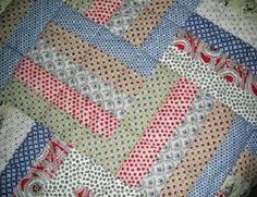 rail fence quilt with repoduction fabric