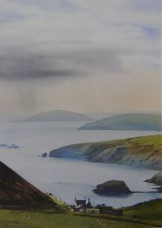Bardsey from Rhiw, Open Edition Print (Offset-Litho) from an original watercolour painting by Rob Piercy