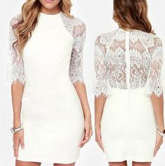 Women Embroidery Lace Dress White Red Black Sleeveless Perspective High Collar Bodycon Dress. Outfits for https://www.zkkoo.com