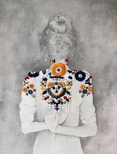 izziyana suhaimi. Mixed media. Embroidery.