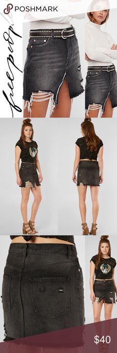 1596d5c61b6 Free People Relaxed and Destroyed Mini Skirt The Free People Relaxed    Destroyed Black Distressed