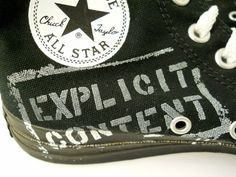 Mens Chuck Taylor All Star Black Canvas Size 7 Explicit Content Black and White Graffiti shoes.