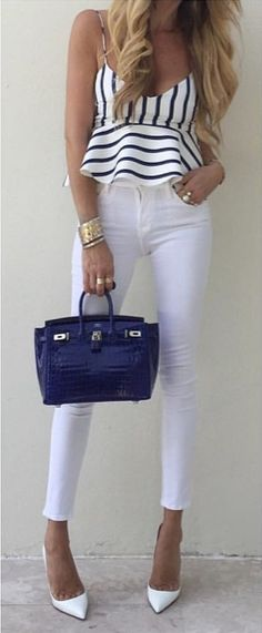 #summer #outfits  Striped Tank + White Skinny Jeans