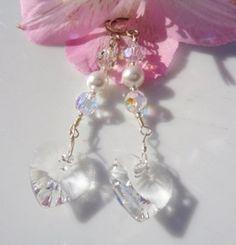 Valentine Swarovski Clear Hearts Earrings w by MagdaleneJewels @magdalenejewels