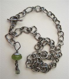 Hand formed metalclay chain by Catherine Witherell made of PMC, fine silver, chalcedony, green amethyst, oxidized