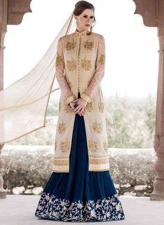Awesome Navy Blue Cream Designer Anarkali suits http://www.angelnx.com/Salwar-Kameez/Anarkali-Suits