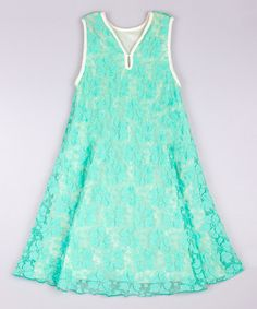 Another great find on #zulily! Green & Crème Boho Swing Dress - Toddler & Girls #zulilyfinds