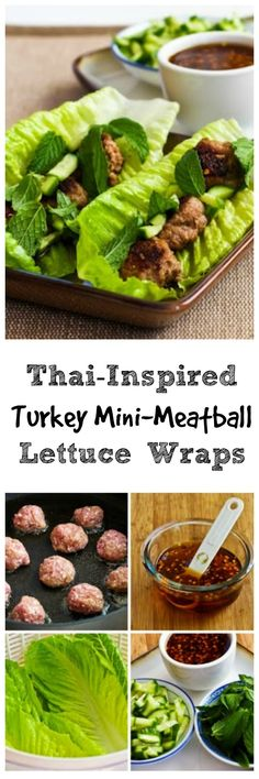 These Thai-Inspired Turkey Mini-Meatballs Lettuce Wraps are easy to make and loaded with flavor!  If you don't want to bother with meatballs, just cook the turkey and season with the sauce. #LowCarb #GlutenFree #SouthBeachDiet [from KalynsKitchen.com]