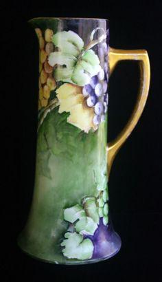 LOVELY Antique Limoges Guerin Porcelain Tankard Pitcher Signed HP Grape Motif #Limoges