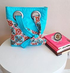 Shoulder BagTote Hand Bag Handbag Teal Orange by SewTwistedSisters