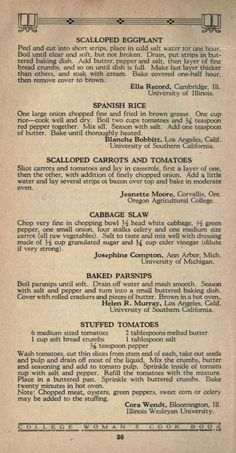 The college woman's cook book. Retro Recipes, Old Recipes, Vintage Recipes, Cookbook Recipes, Vegetable Recipes, Great Recipes, Cooking Recipes, Favorite Recipes, Victorian Recipes
