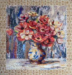 Red Roses in a Vase - Marble Mosaic Artwork | This Piece Would Beautifully Decorate Any Walls of Your Home | Bathroom - Bedroom - Living Room - Hallway | #Mozaico
