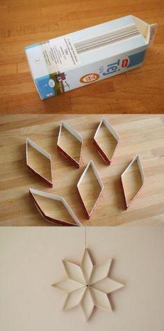 DIY Χριστουγεννιάτικα στολίδια από ένα άδειο χάρτινο μπουκαλι γάλα