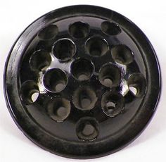 ANTIQUE BLACK AMETHYST GLASS FLOWER FROG WITH 16 HOLES