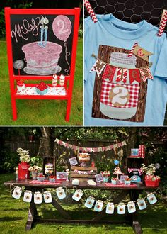 Strawberry Patch party theme!  So cute the way they made the mason jar paper garland and mixed the classic red and white gingham with the strawberry elements for that vintage vibe.  So precious!