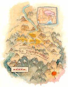 Tsangpo Gorges, Tibet map by Mike Reagan #map #tibet