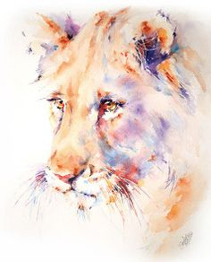 Lion Canvas Print / Canvas Art by Stephie Butler Watercolor Lion, Watercolor Animals, Watercolor Paintings, Watercolors, African Animals, African Art, Animal Paintings, Animal Drawings, Anime Comics
