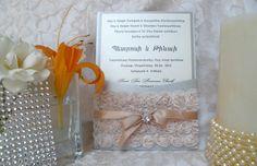 Rosette Pocket, lace and rhinestone invitation