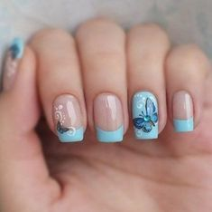 Simple and Easy Butterfly Nail Art 2018 - Fashion nails Nail Art Designs, Butterfly Nail Designs, Butterfly Nail Art, Nail Designs Spring, Toe Nail Art, Easy Nail Art, Toe Nails, Acrylic Nails, Spring Nail Colors