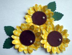 Yellow Sunflower Paper Flower Embellishments by missymadeit Sunflower Cards, Yellow Sunflower, Candy Bar Posters, Paper Sunflowers, Candy Cards, Birthday Crafts, 90th Birthday, Scrapbook Embellishments, Cute Crafts
