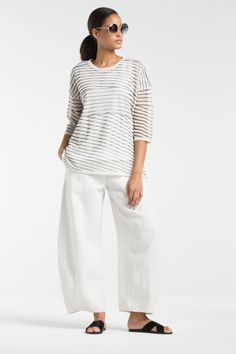 Wonderful wide trousers at OSKA New York for your travels.