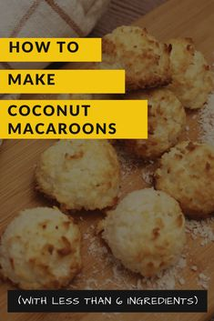 These Coconut Macaroons are so simple to make and will be ready as fast as one, two, and three… Macaroon Cookies, Coconut Cookies, Coconut Macaroons, Yummy Cookies, Coconut Flour, Baking Recipes, Cookie Recipes, Ginger Snap Cookies, Recipe Please