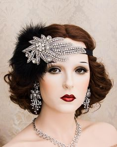 Great Gatsby Headpiece, 1920s Headpiece, Gatsby Headband, Flapper Accessories, Vintage Accessories, Hair Accessories, Art Deco, Maquillage Goth, 1920s Hair