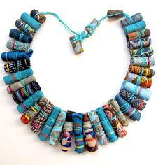 Gilgulim - Turquoise Frida Kahlo fiber necklace