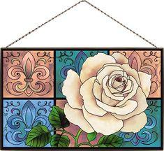 Art Panel-AP328R-Fleur-de-Lis & Rose-Joan Baker Designs