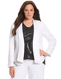 With its decadent feel and structured silhouette, Lane Collection's easy jacket is a sophisticated look for the office and beyond. The contemporary high-low hem and draped open placket give it a modern mentality, with contoured seaming to keep the fit classically flattering. Fully lined. Make it a femme power suit with the matching Lane Collection Easy Pant (sold separately). lanebryant.com