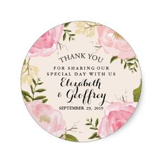 Modern Vintage Pink Floral Wedding Thank You Favor Sticker