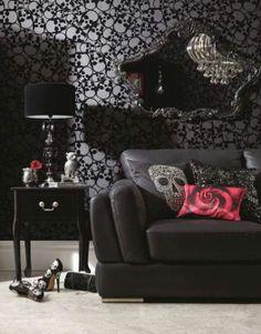 Flocked Skull Wallpaper - http://tmblr.co/ZPNP8u1Ml89lB http://www.facebook.com/goreydetails http://twitter.com/GoreyDetails