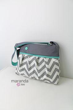 Stella Chevron Diaper Bag Medium Gray Chevron with by marandalee, $82.00