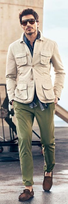 Field jacket combo with green chinos loafers and button up #fieldjacket #menswear #menstyle #mensfashion #fallfashion #falloutfits